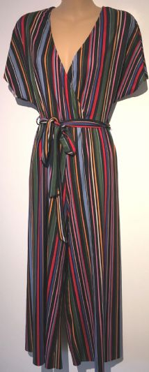 NEW LOOK RAINBOW RIBBED STRIPE JERSEY JUMPSUIT SIZE 12